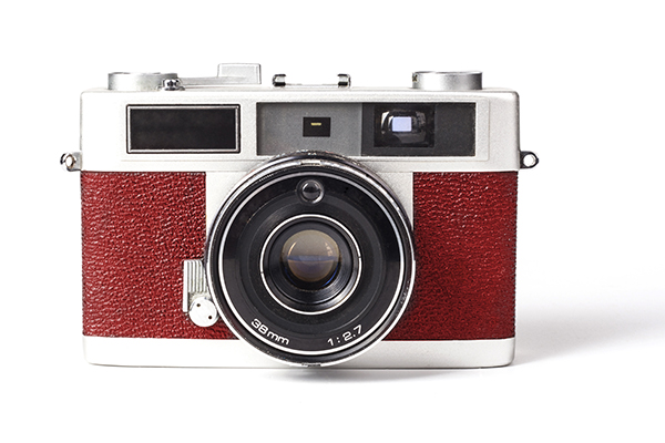 Old Silver Film Camera Isolated on White Backgroud
